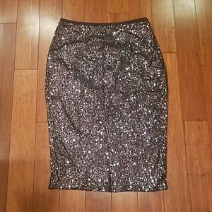 Sparkly sequin pencil skirt.
